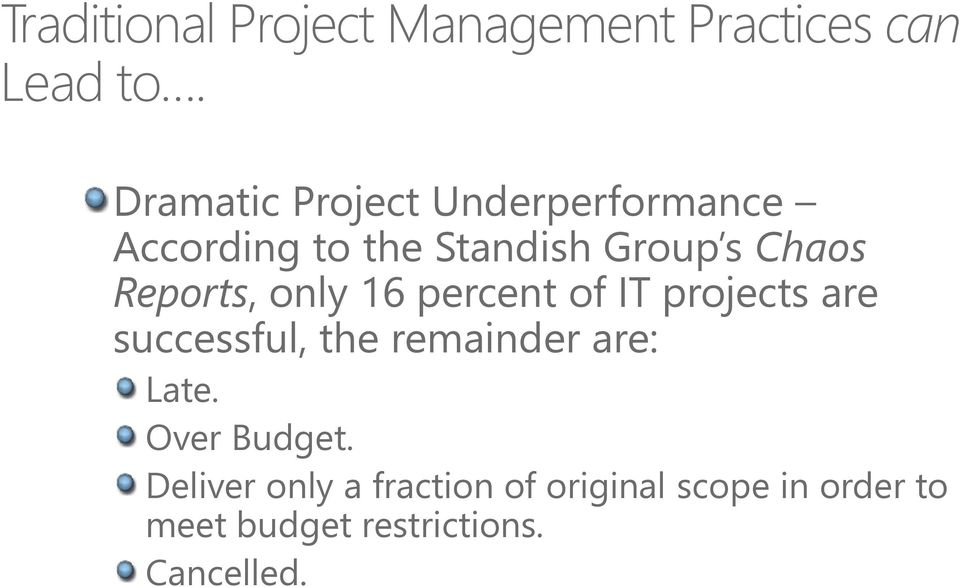 Reports, only 16 percent of IT projects are successful, the remainder are: