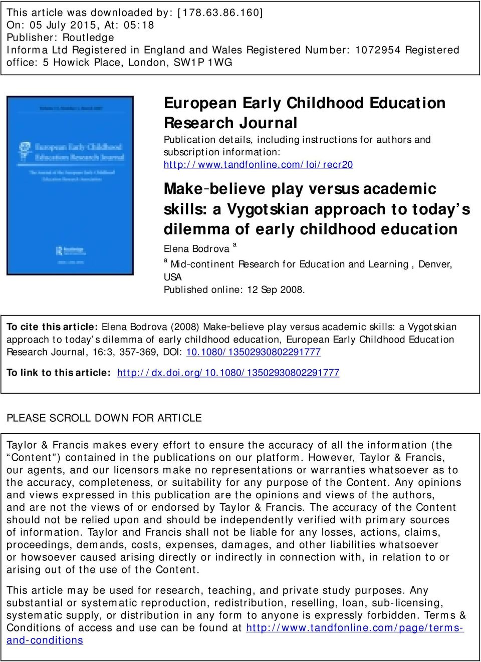 Childhood Education Research Journal Publication details, including instructions for authors and subscription information: http://www.tandfonline.