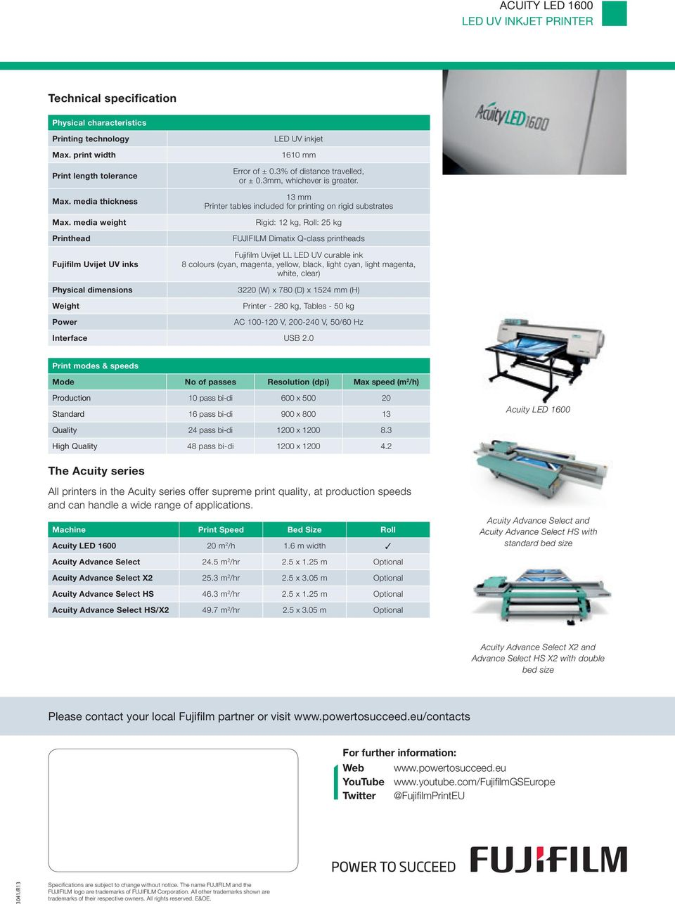 13 mm Printer tables included for printing on rigid substrates Rigid: 12 kg, Roll: 25 kg FUJIFI Dimatix Q-class printheads Fujifi lm Uvijet LL LED UV curable ink 8 colours (cyan, magenta, yellow,