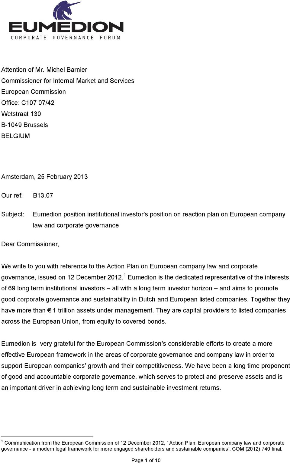 on European company law and corporate governance, issued on 12 December 2012.