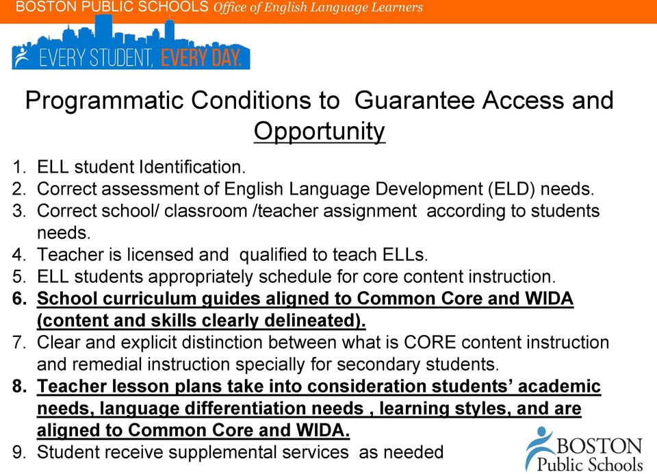 School curriculum guides aligned to Common Core and WIDA (content and skills clearly delineated). 7.