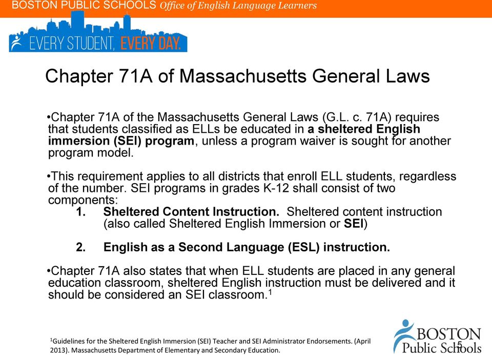 This requirement applies to all districts that enroll ELL students, regardless of the number. SEI programs in grades K-12 shall consist of two components: 1. Sheltered Content Instruction.