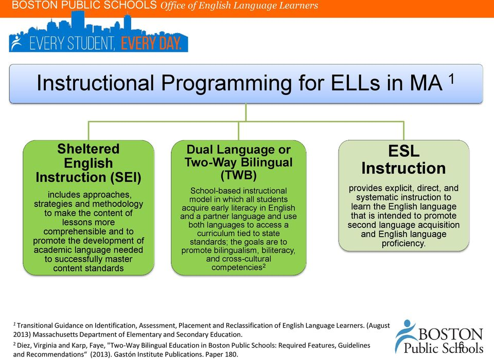 in English and a partner language and use both languages to access a curriculum tied to state standards; the goals are to promote bilingualism, biliteracy, and cross-cultural competencies 2 ESL