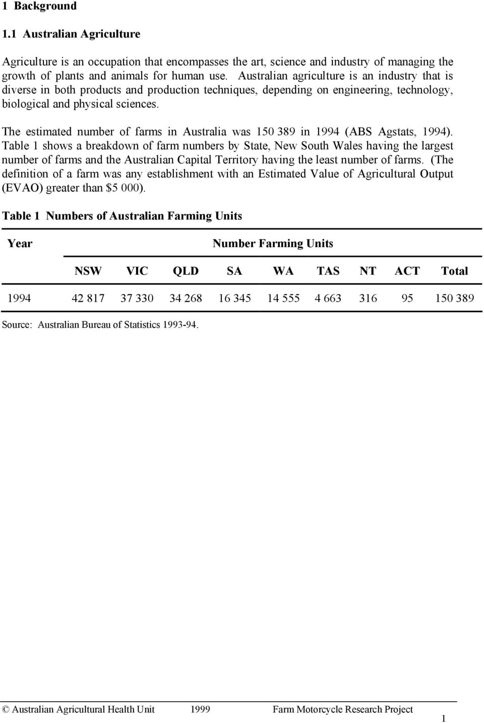 The estimated number of farms in Australia was 150 389 in 1994 (ABS Agstats, 1994).
