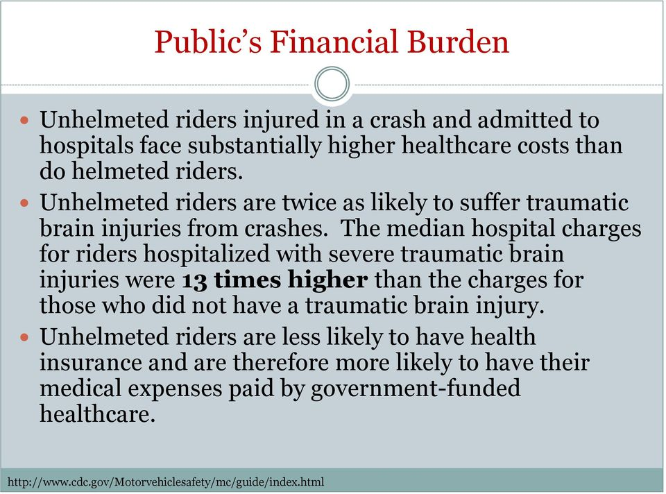 The median hospital charges for riders hospitalized with severe traumatic brain injuries were 13 times higher than the charges for those who did not have a