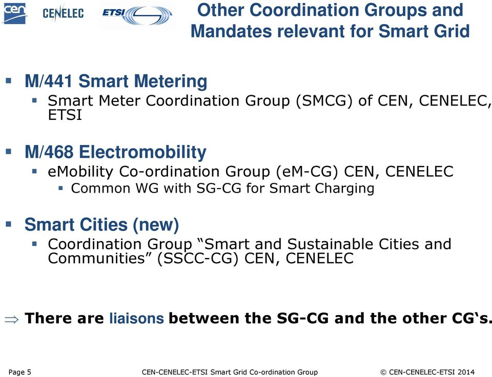 Smart Charging Smart Cities (new) Coordination Group Smart and Sustainable Cities and Communities (SSCC-CG) CEN, CENELEC