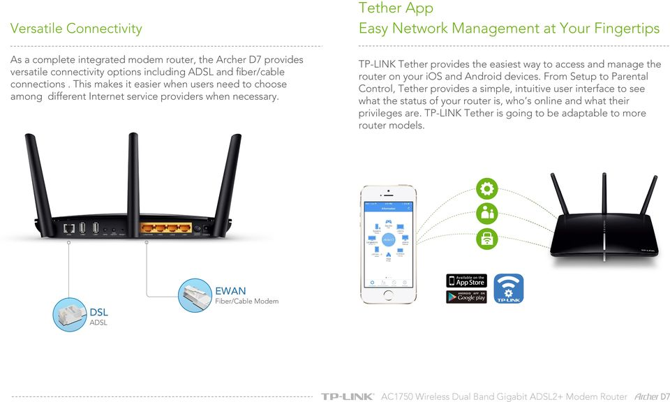 TP-LINK Tether provides the easiest way to access and manage the router on your ios and Android devices.