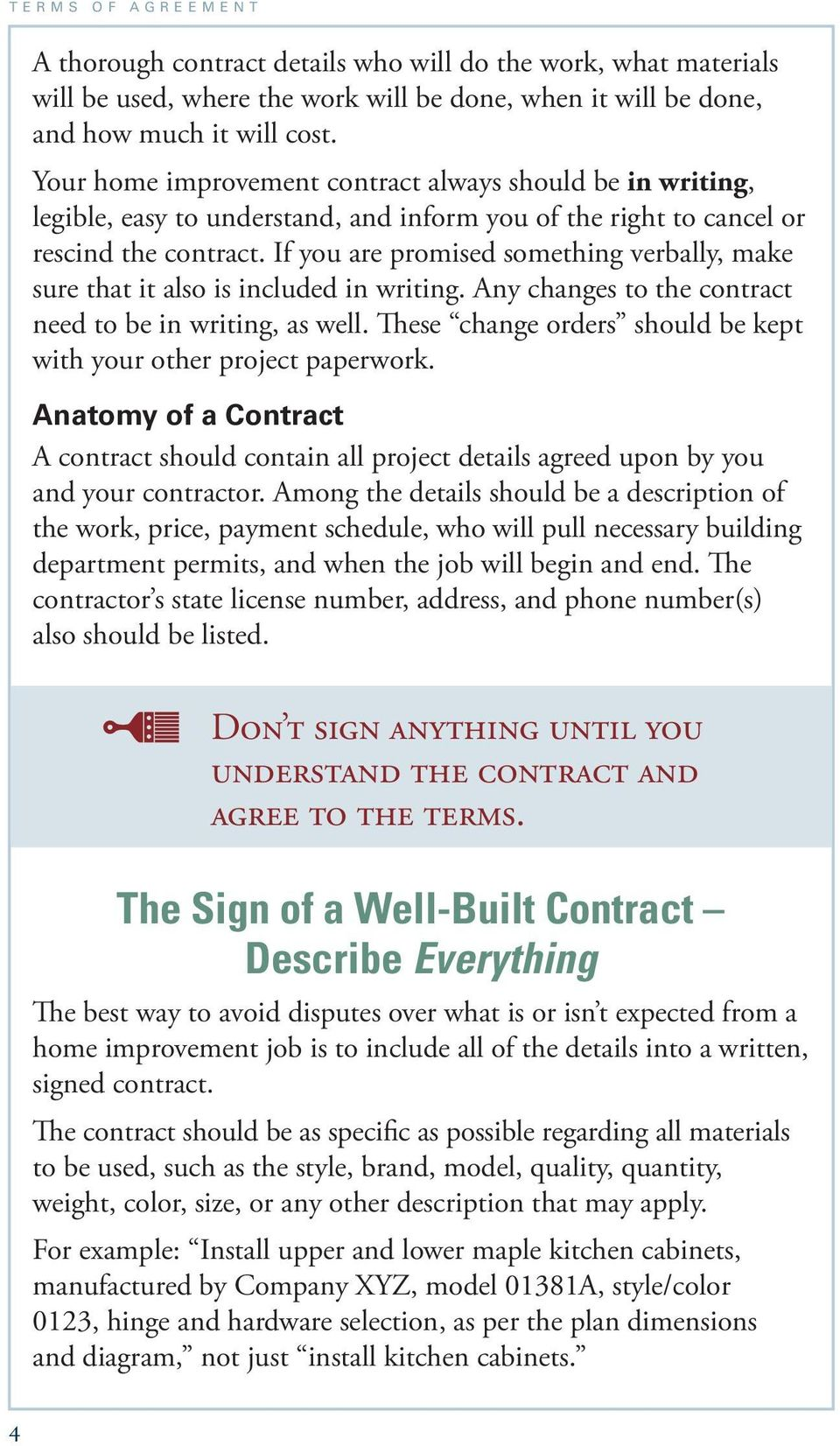 Terms of Agreement. A Consumer Guide to Home Improvement Contracts ...