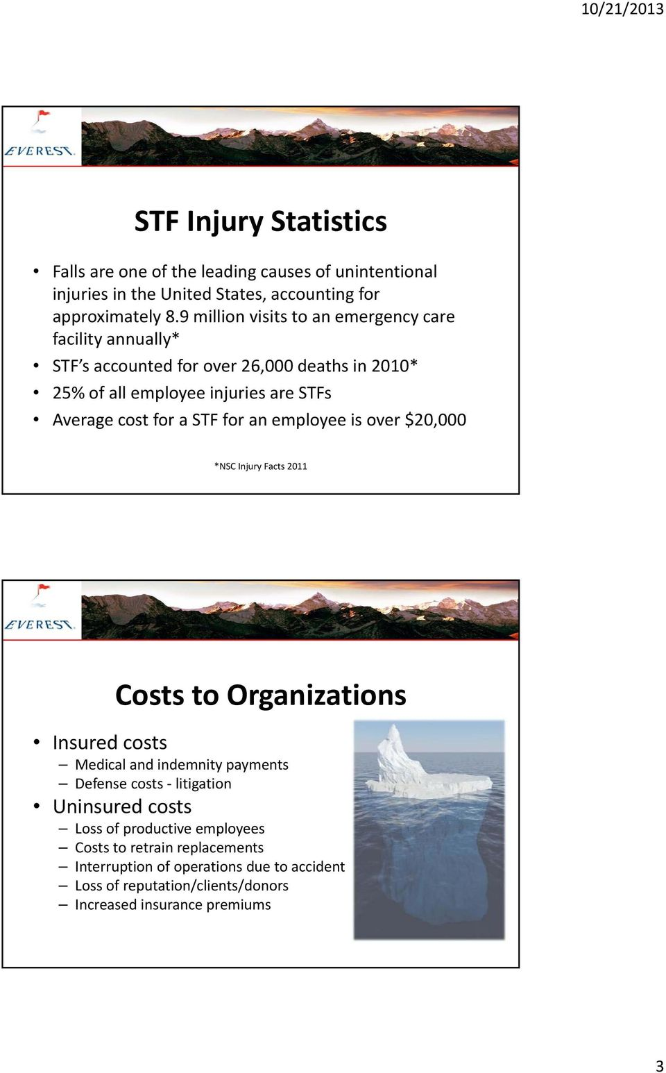 for a STF for an employee is over $20,000 *NSC Injury Facts 2011 Costs to Organizations Insured costs Medical and indemnity payments Defense costs litigation