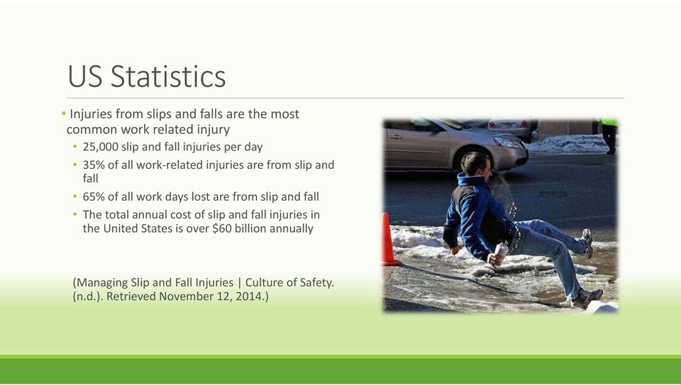 are from slip and fall The total annual cost of slip and fall injuries in the United States is over $60
