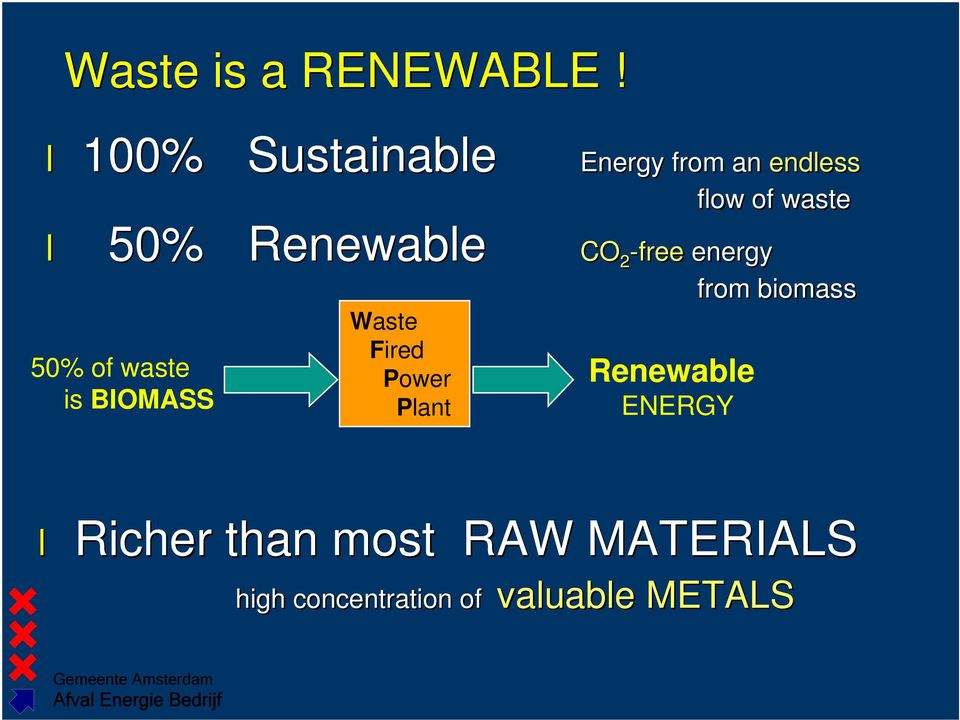 Renewable CO 2 -free energy 50% of waste is BIOMASS Waste Fired