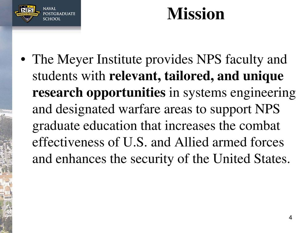 warfare areas to support NPS graduate education that increases the combat