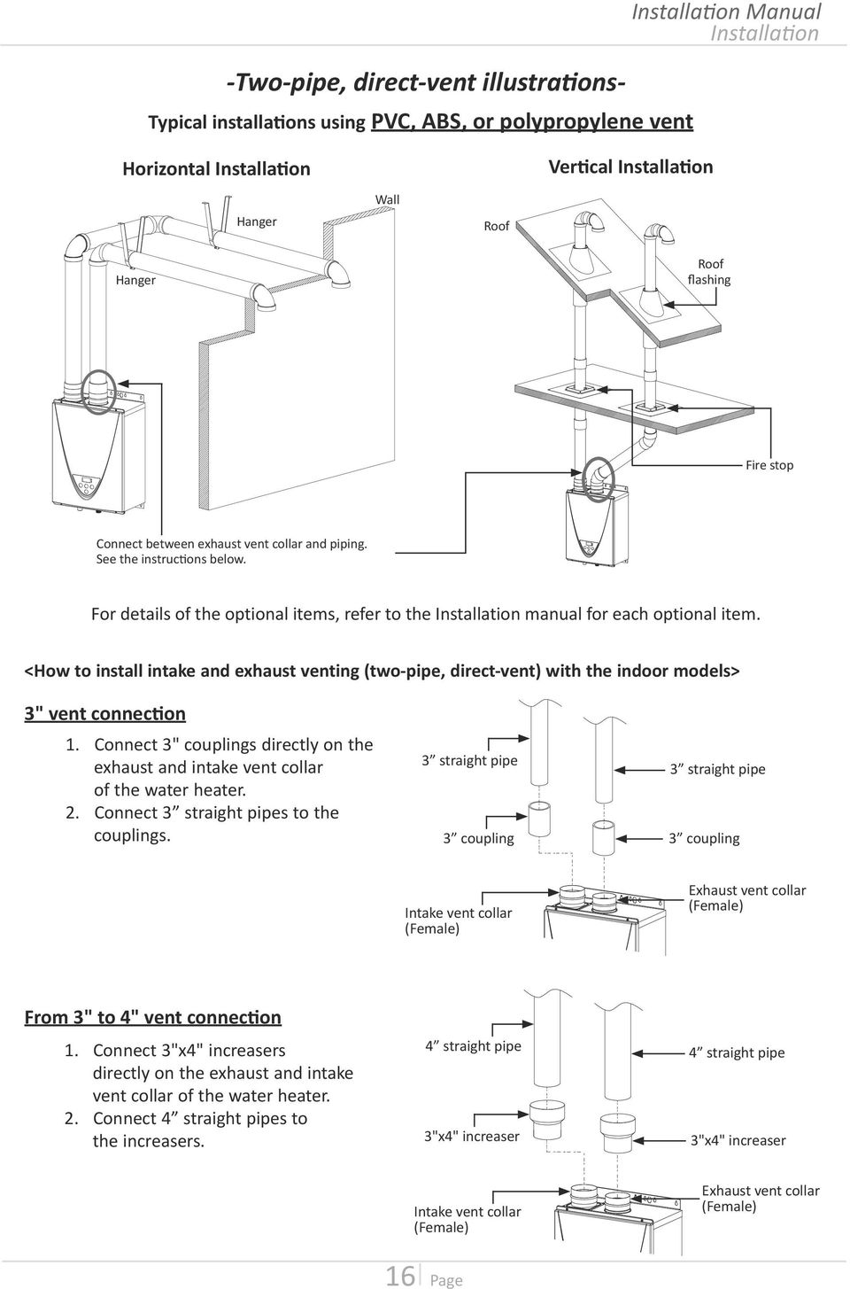 "<How to install intake and exhaust venting (two-pipe, direct-vent) with the indoor models> 3"" vent connection 1."