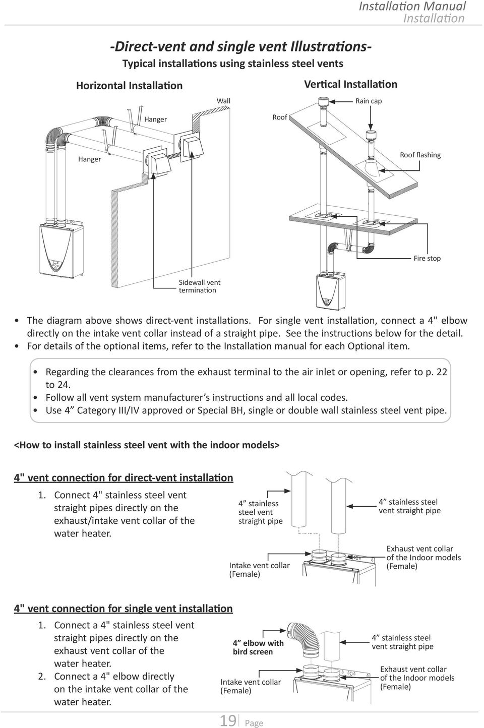 "For single vent installation, connect a 4"" elbow directly on the intake vent collar instead of a straight pipe. See the instructions below for the detail."