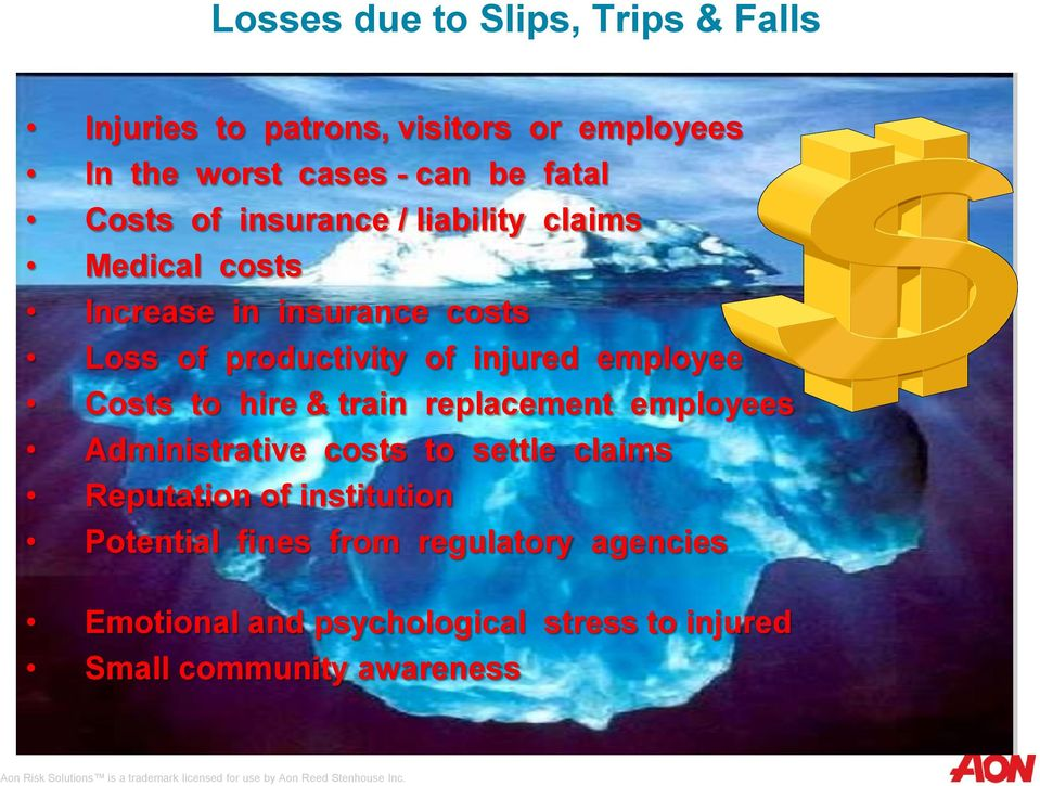 employee Costs to hire & train replacement employees Administrative costs to settle claims Reputation of