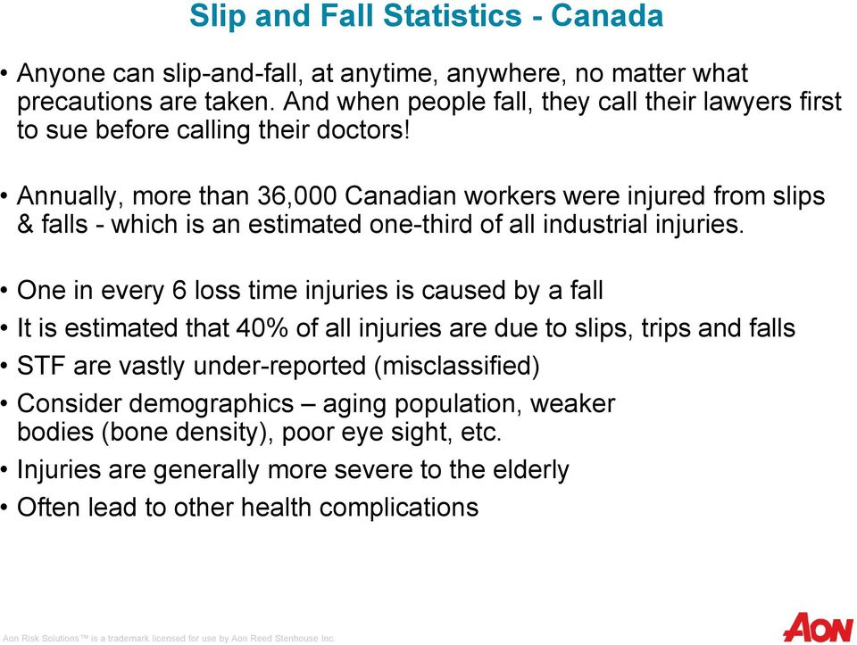 Annually, more than 36,000 Canadian workers were injured from slips & falls - which is an estimated one-third of all industrial injuries.