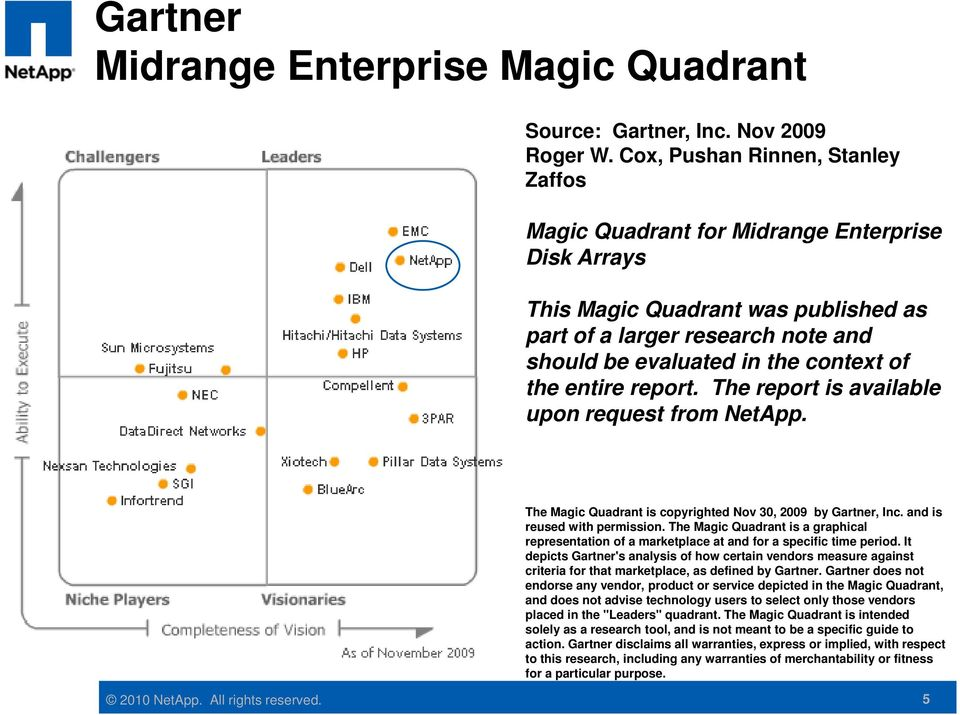 entire report. The report is available upon request from NetApp. The Magic Quadrant is copyrighted Nov 30, 2009 by Gartner, Inc. and is reused with permission.