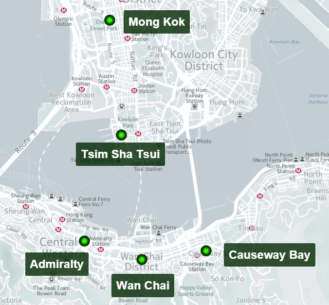 org & BBVA Research Main Protest areas inside Hong Kong (Protest events) org &