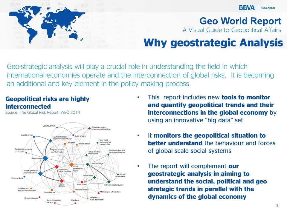 Geopolitical risks are highly interconnected Source: The Global Risk Report, WEO 2014 This report includes new tools to monitor and quantify geopolitical trends and their interconnections in the