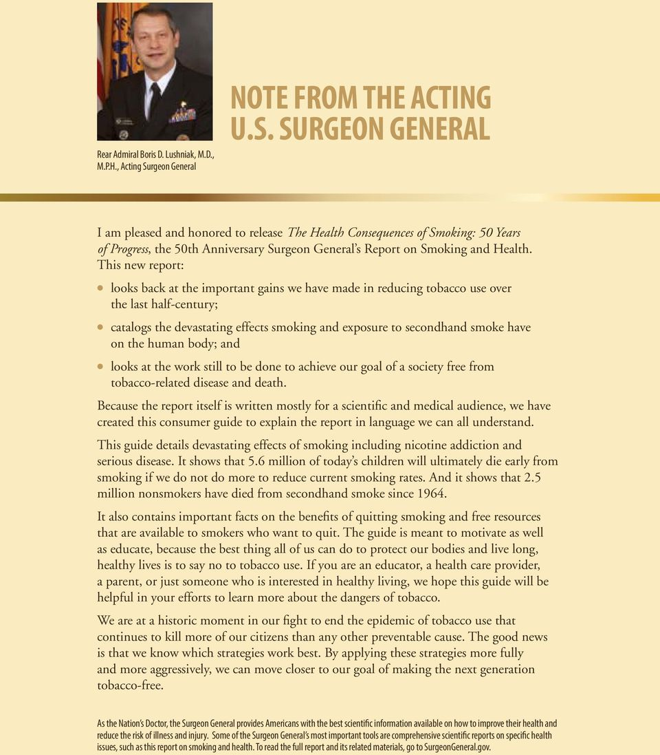 rgeon General NOTE FROM THE ACTING U.S.