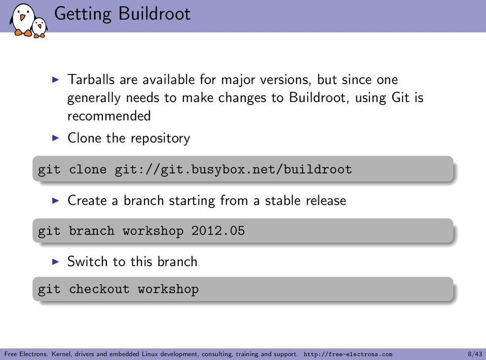 net/buildroot Create a branch starting from a stable release git branch workshop 2012.