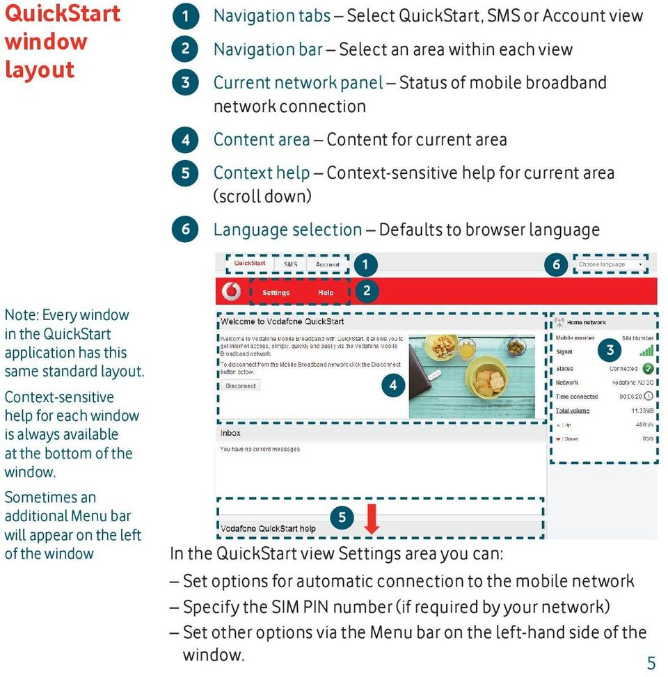 QuickStart application has this same standard layout. Context-sensitive help for each window is always available at the bottom of the window.