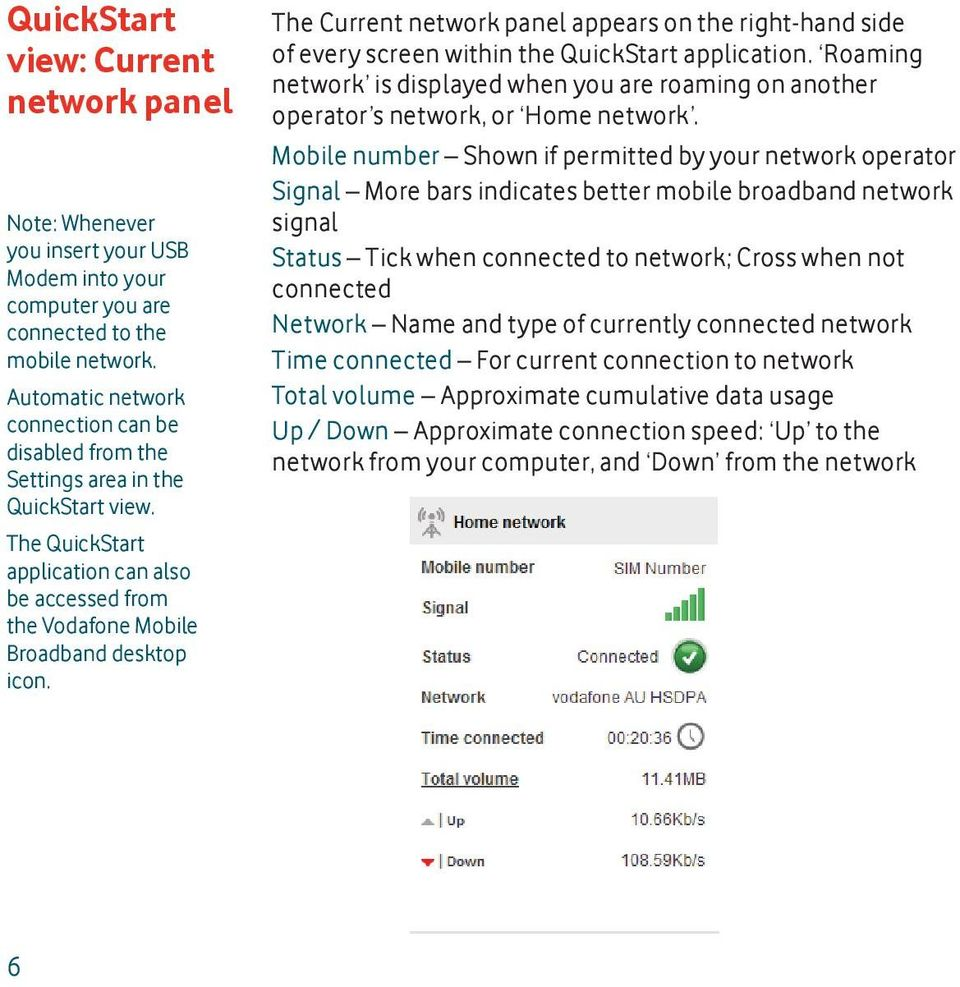 The Current network panel appears on the right-hand side of every screen within the QuickStart application.