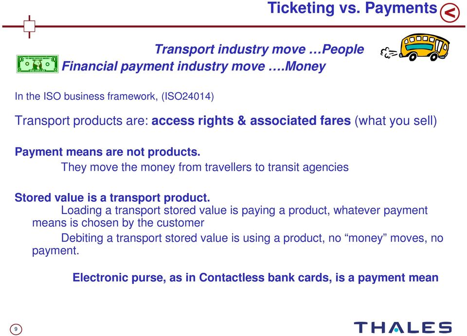 products. They move the money from travellers to transit agencies Stored value is a transport product.