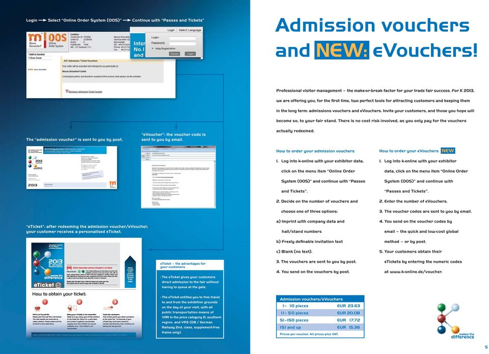 For K 2013, we are offering you, for the first time, two perfect tools for attracting customers and keeping them in the long term: admissions vouchers and evouchers.