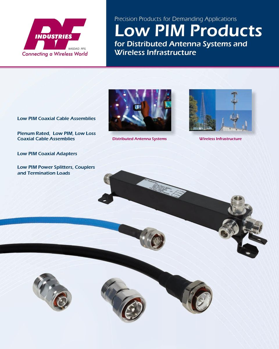 PIM, Low Loss Coaxial Cable Assemblies Distributed Antenna Systems Wireless