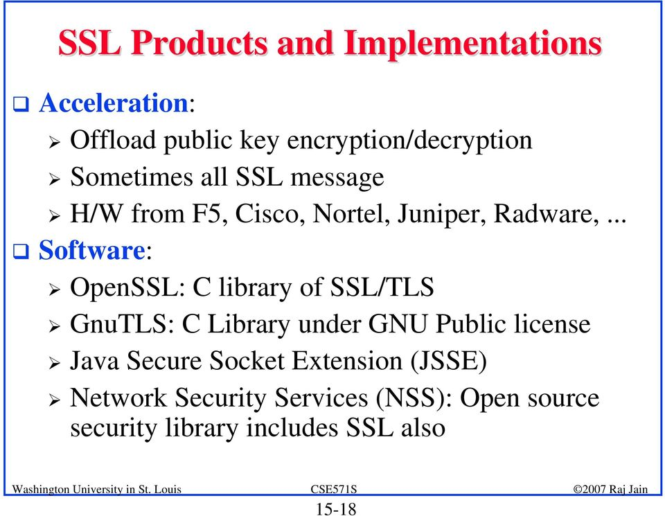 .. Software: OpenSSL: C library of SSL/TLS GnuTLS: C Library under GNU Public license Java