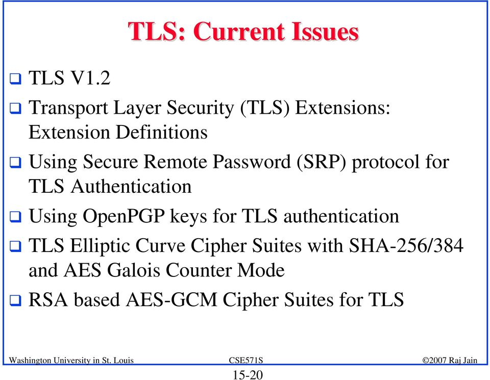 Definitions Using Secure Remote Password (SRP) protocol for TLS Authentication