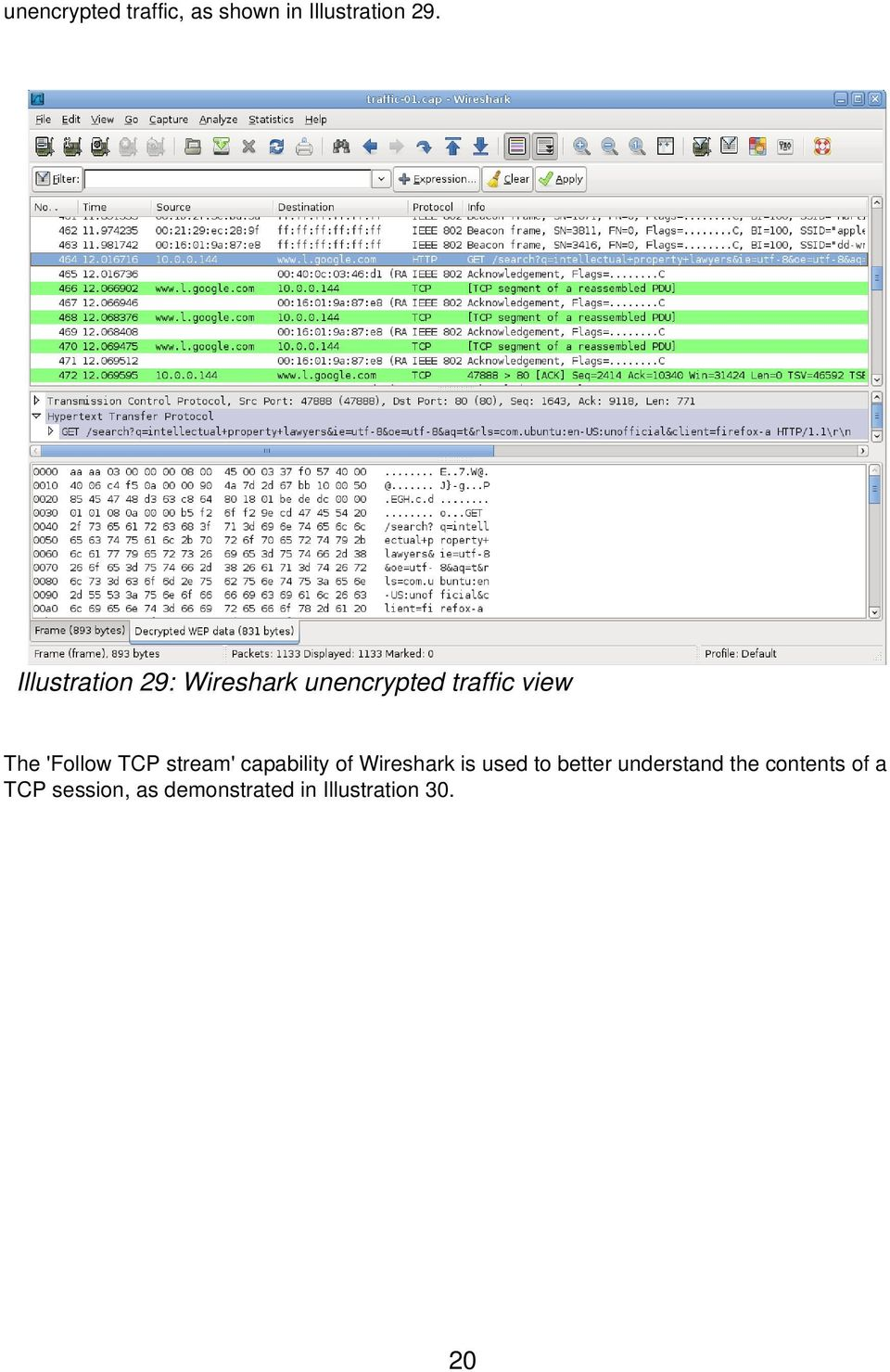 'Follow TCP stream' capability of Wireshark is used to better