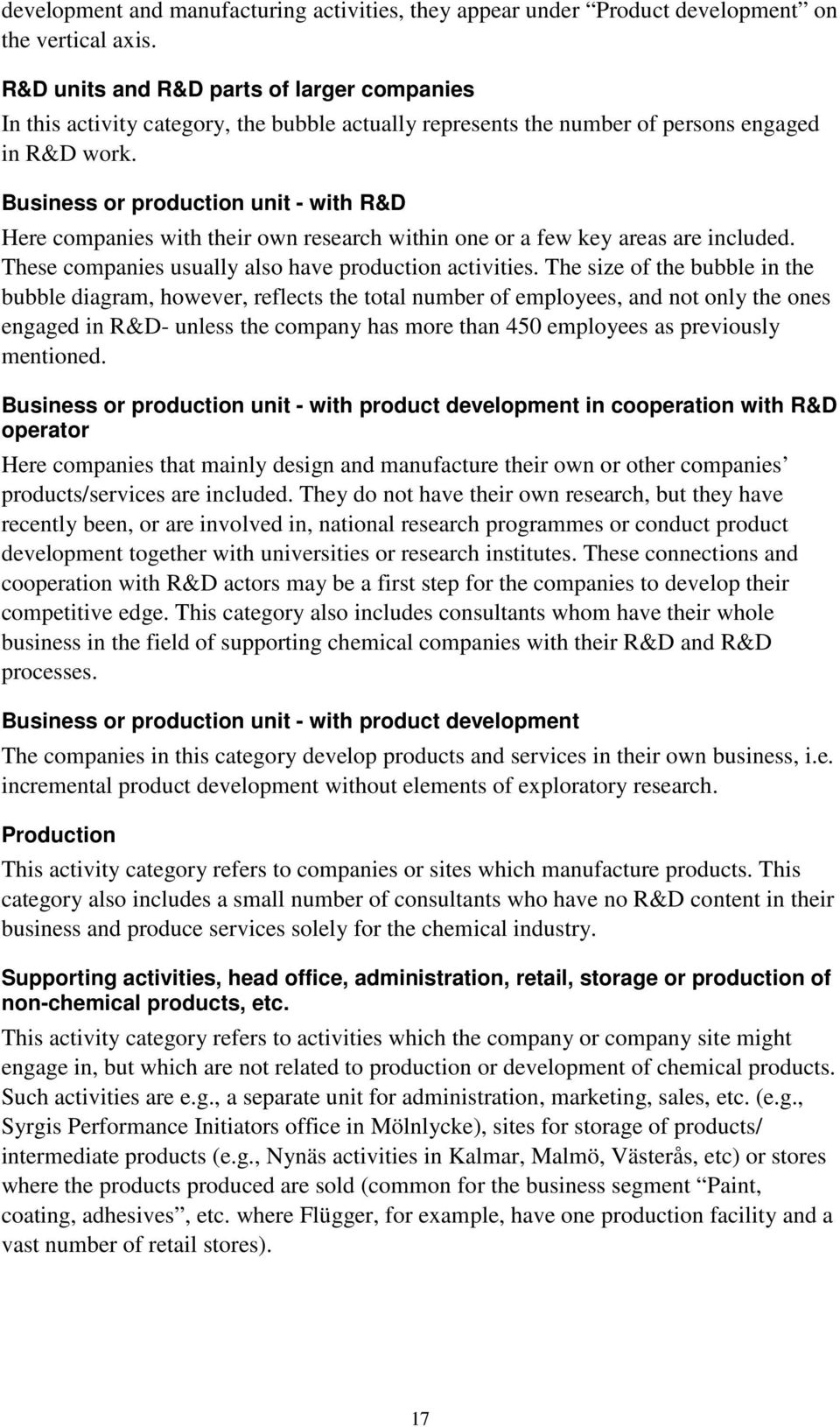 Business or production unit - with R&D Here companies with their own research within one or a few key areas are included. These companies usually also have production activities.