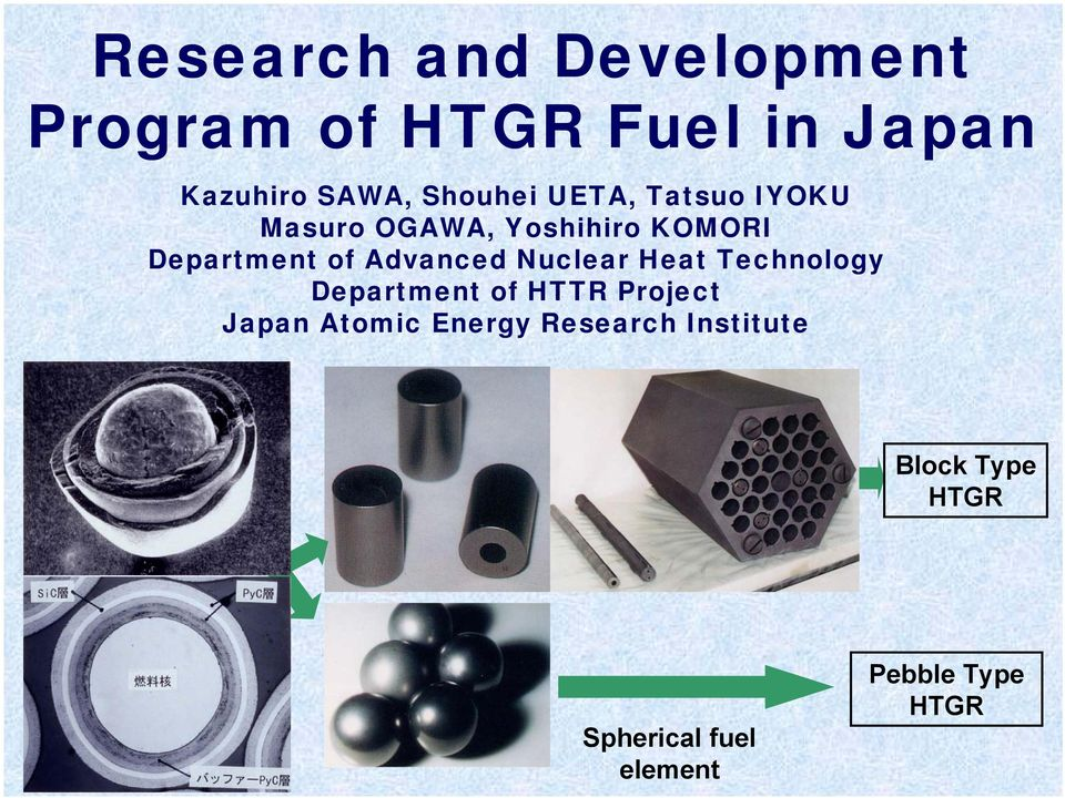 Advanced Nuclear Heat Technology Department of HTTR Project Japan Atomic
