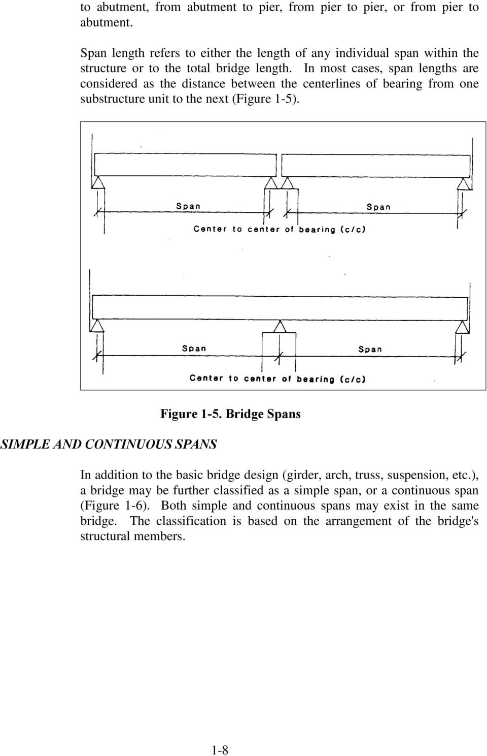 In most cases, span lengths are considered as the distance between the centerlines of bearing from one substructure unit to the next (Figure 1-5).