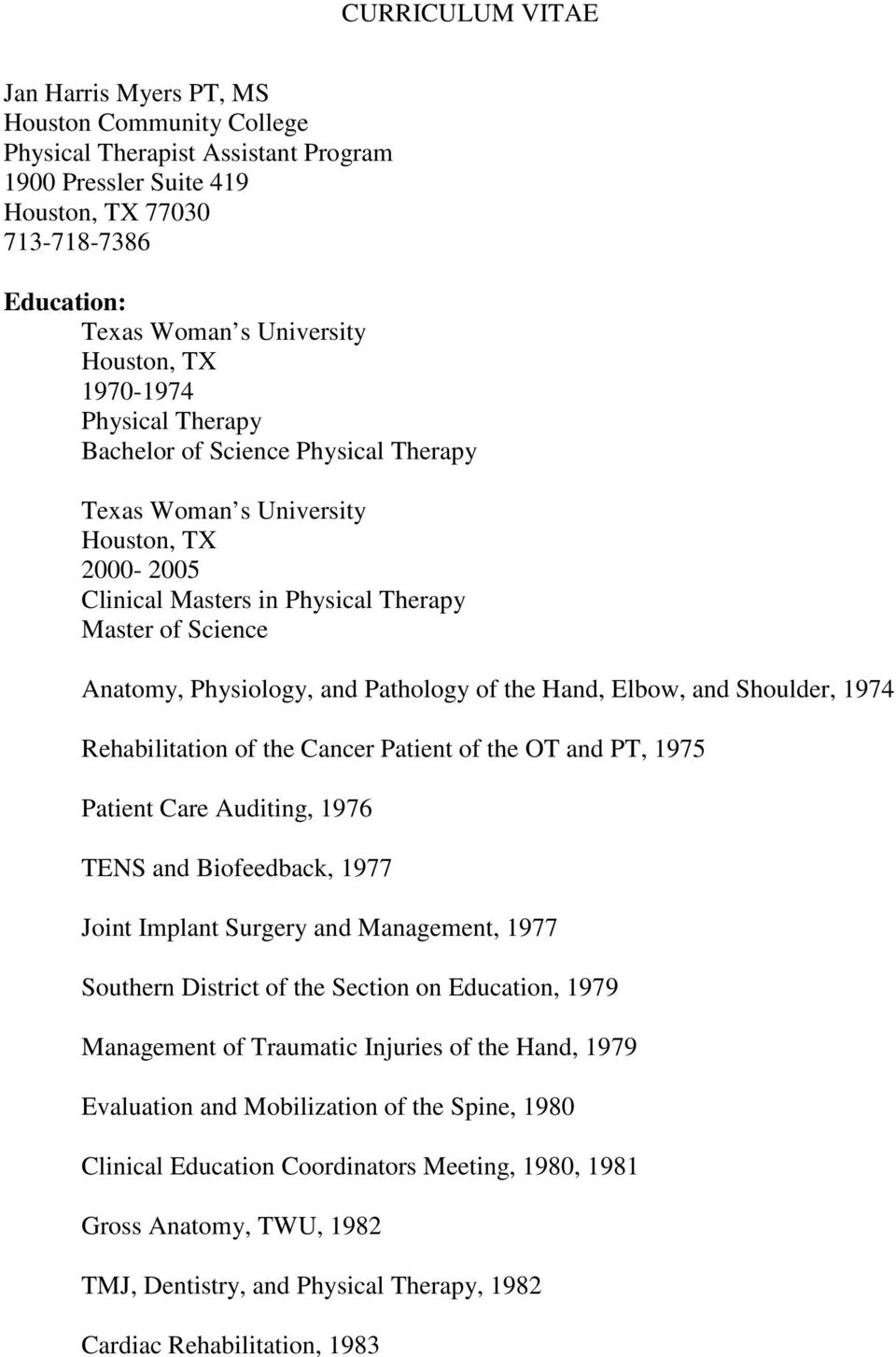 1974 Rehabilitation of the Cancer Patient of the OT and PT, 1975 Patient Care Auditing, 1976 TENS and Biofeedback, 1977 Joint Implant Surgery and Management, 1977 Southern District of the Section on