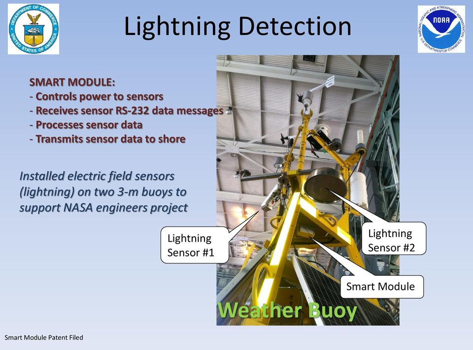 Installed electric field sensors (lightning) on two 3-m buoys to support NASA
