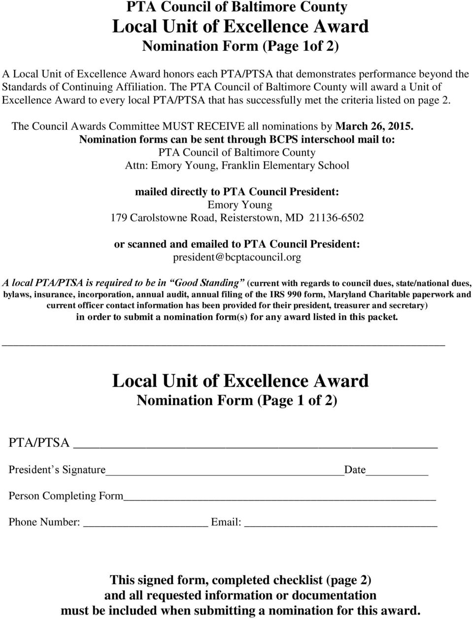 Attn:, Franklin Elementary School bylaws, insurance, incorporation, annual audit, annual filing of the IRS 990 form, Maryland Charitable paperwork and Local Unit of Excellence Award Nomination Form