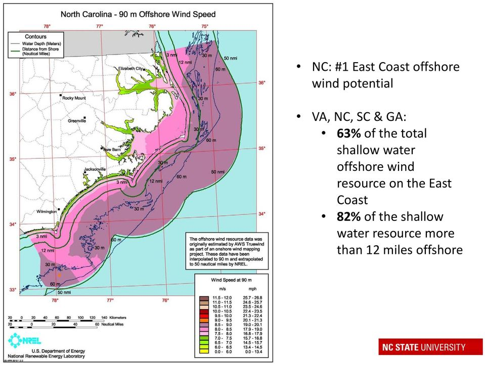 offshore wind resource on the East Coast 82% of