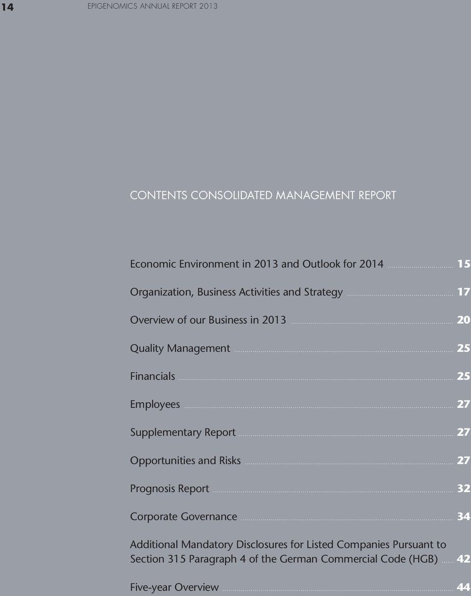 .. 25 Employees... 27 Supplementary Report... 27 Opportunities and Risks... 27 Prognosis Report... 32 Corporate Governance.