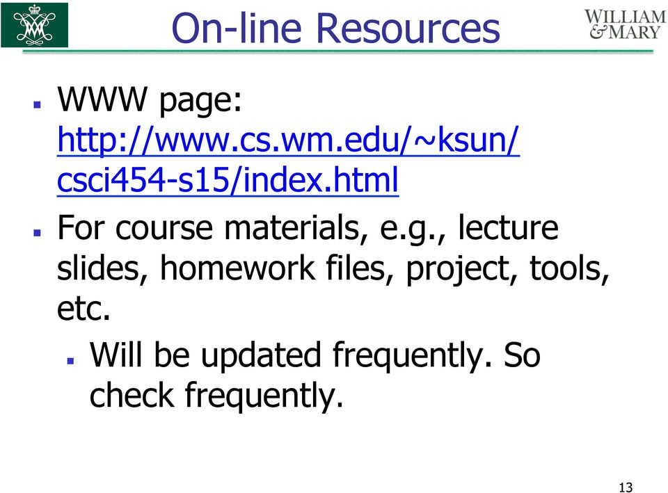 html For course materials, e.g.