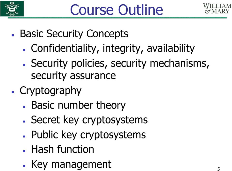 mechanisms, security assurance Cryptography Basic number