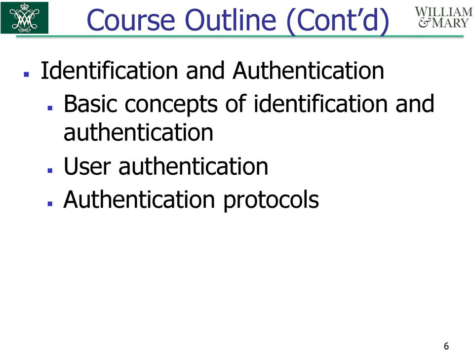 identification and authentication User