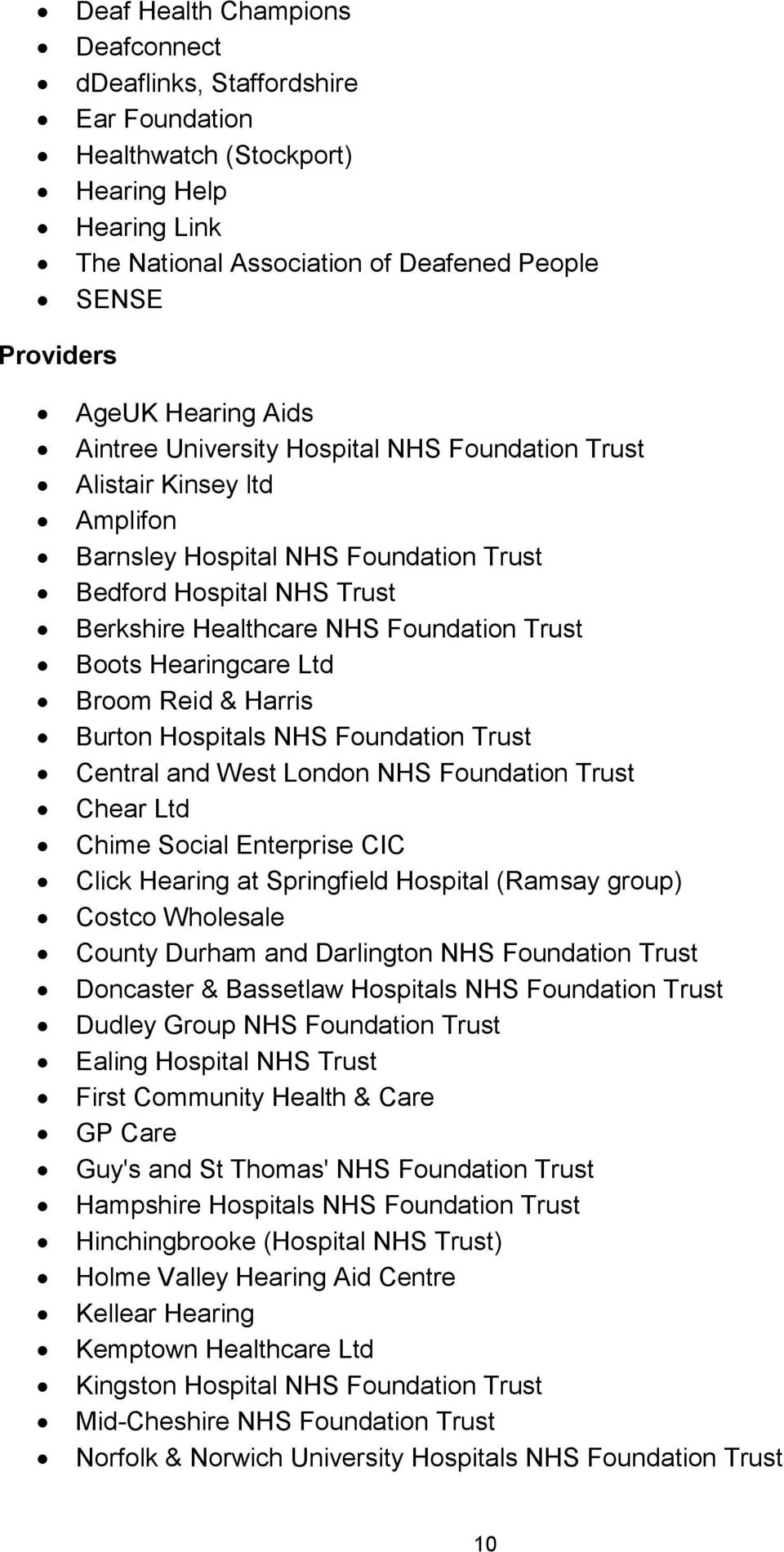 Hearingcare Ltd Broom Reid & Harris Burton Hospitals NHS Foundation Trust Central and West London NHS Foundation Trust Chear Ltd Chime Social Enterprise CIC Click Hearing at Springfield Hospital