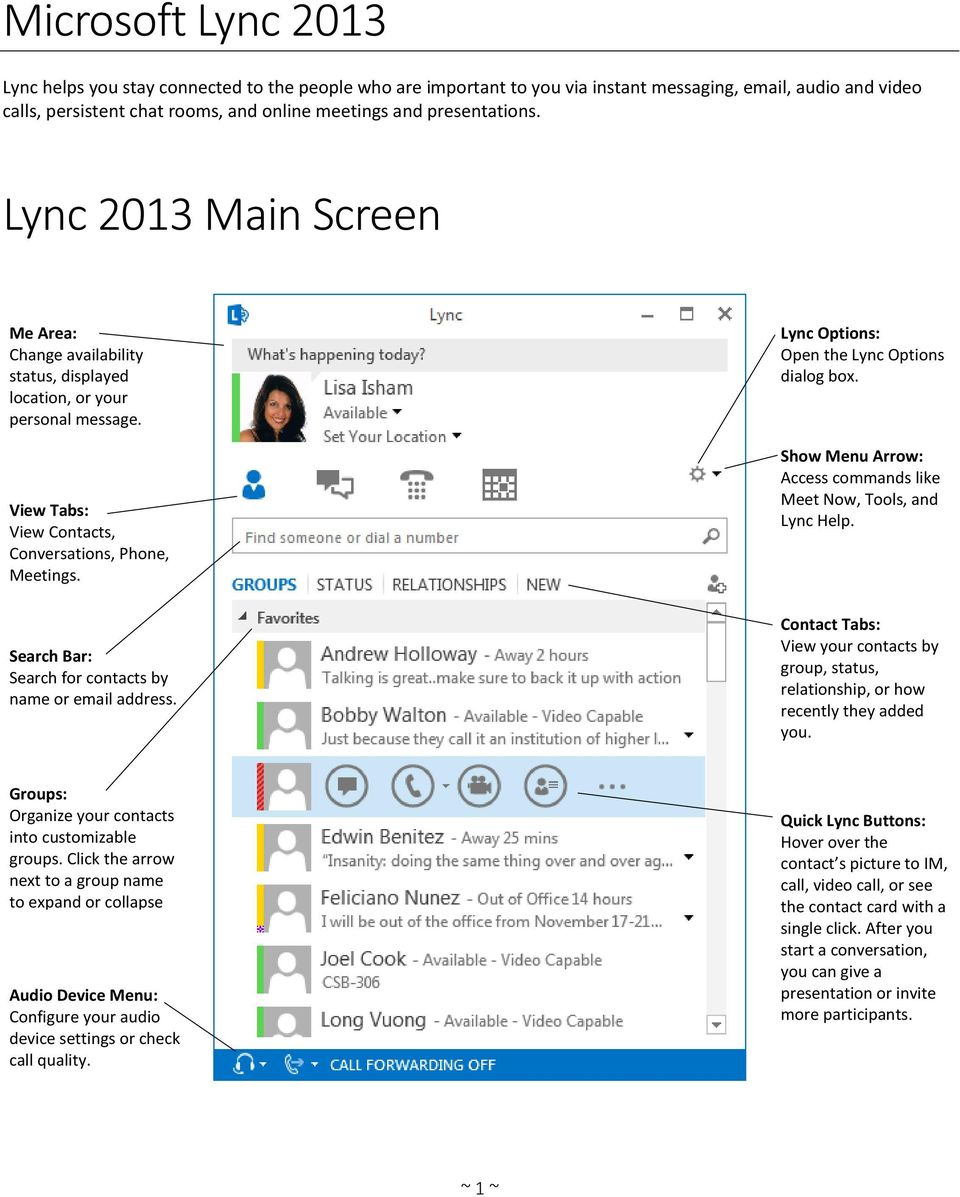 Search Bar: Search for contacts by name or email address. Lync Options: Open the Lync Options dialog box. Show Menu Arrow: Access commands like Meet Now, Tools, and Lync Help.