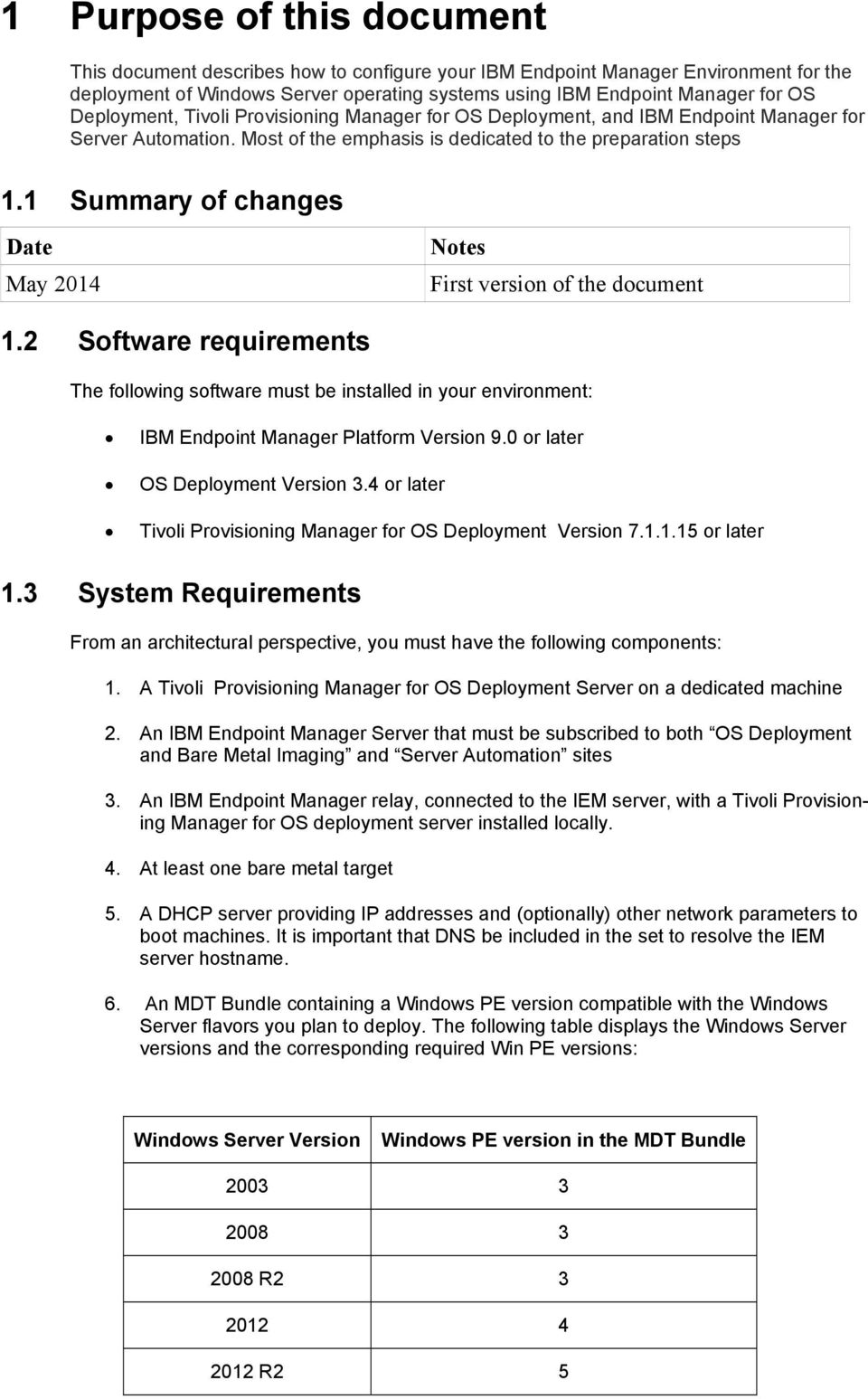 1 Summary of changes Date May 2014 Notes First version of the document 1.2 Software requirements The following software must be installed in your environment: IBM Endpoint Manager Platform Version 9.
