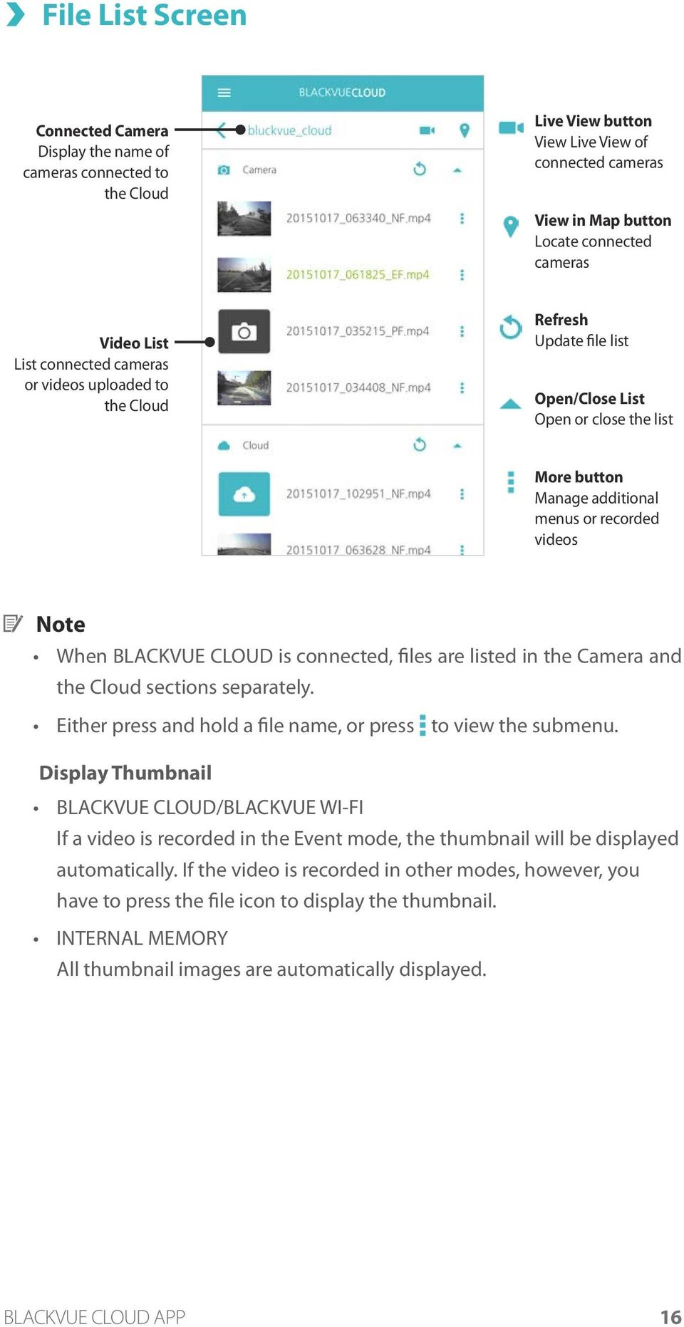 connected, files are listed in the Camera and the Cloud sections separately. Either press and hold a file name, or press to view the submenu.