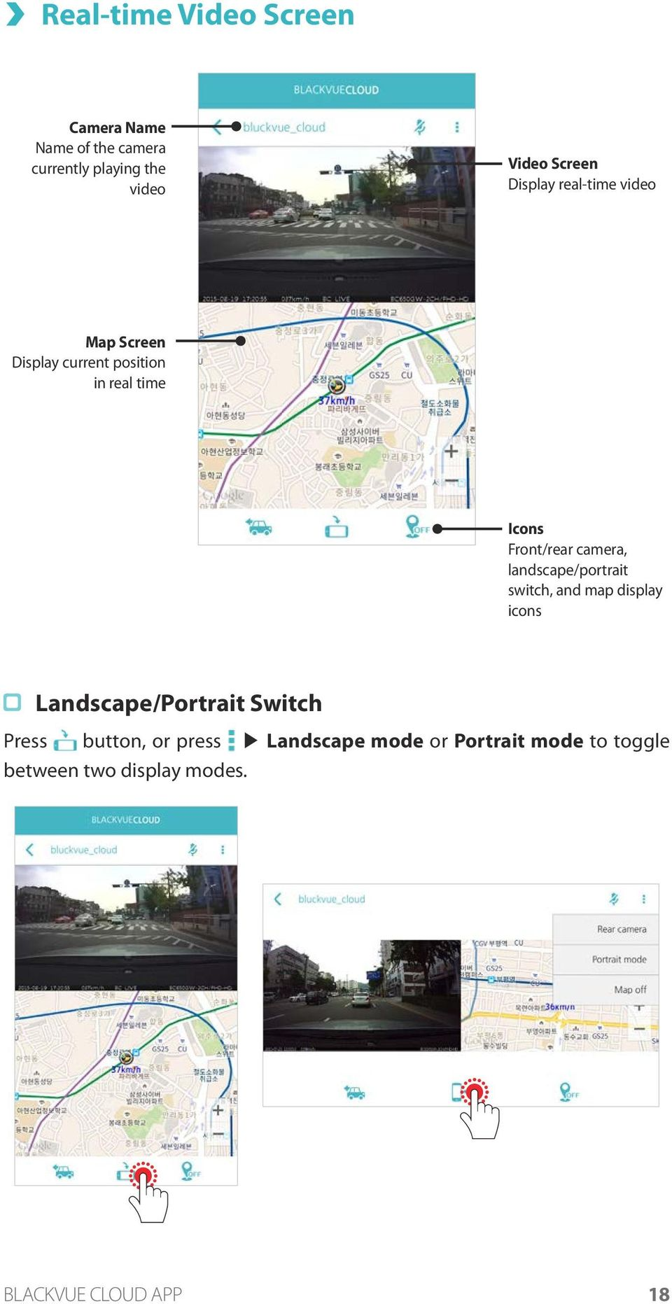 Front/rear camera, landscape/portrait switch, and map display icons Landscape/Portrait