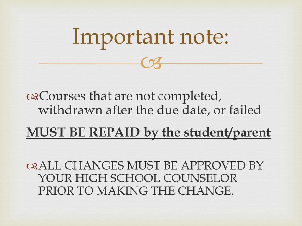 REPAID by the student/parent ALL CHANGES MUST BE